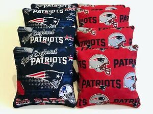 NEW ENGLAND PATRIOTS CORN HOLE BEAN BAGS 8 PLASTIC FILLED WATERPROOF ALL WEATHER