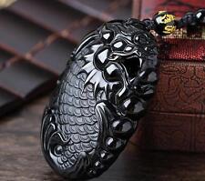 Natural obsidian pendant arowana pendants Wealth Protection