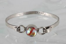 STERLING SILVER TR-09 TAXCO PINK & METALLIC STONE CUFF BRACELET 925 MEXICO 4866