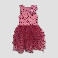 Jojo Siwa Valentine's Day Dress, light Pink Tulle With Red Hearts �� Last One