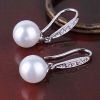 HUCHE Wedding 18K white gold filled pearl & white sapphire Women Lady Earrings