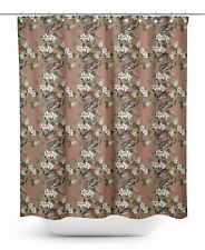 S4Sassy Brown Floral & Bird Bathroom Decor Shower Waterproof Curtain-qbp