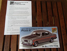 TRAX BROCHURE SUPERSCALE 1970 XW FORD FALCON GTHO PHASE II SILVER FOX RARE