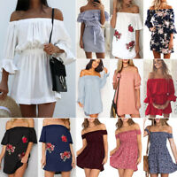 Womens Off The Shoulder Summer Beach Mini Sundress Party Casual Dress Top Shirts