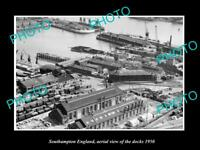 OLD LARGE HISTORIC PHOTO SOUTHAMPTON ENGLAND AERIAL VIEW SHOWING DOCKS c1950