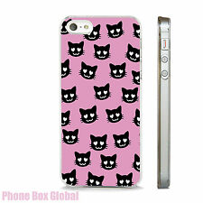 COOL MEOW CAT PATTERN  CLEAR PHONE CASE FITS IPHONE 4 5 5S  5C 6 6S SE 7 & PLUS
