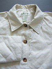Orvis Quilted Jacket Women's MP Medium Petite Beige Padded Button Up Vtg BBS883