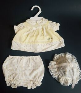 Cabbage Patch Kids Doll Clothes Outfit Yellow Vintage Girl Lace CKP CC Set Hat