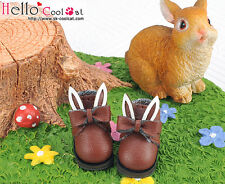 ☆╮Cool Cat╭☆【23-3】Blythe/Pullip Bunny Ears With Bow Mini Ankle Boots # Brown
