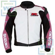 LEATHER MOTORBIKE JACKET. Suzuki 1078 Pink Cowhide Biker Racer Motorcycle Coat