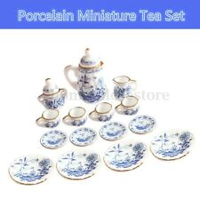 15PCS Dollhouse Miniature 1/12 Dining Blue Floral Ceramic Tea Set Pot Cup Plate
