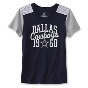 Dallas Cowboys NFL Youth Girls Blue Gray Short Sleeve SS Tee T Shirt Est 1960