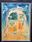 Mystery Illegibly signed Surrealist Watercolor on paper abstract expressionist