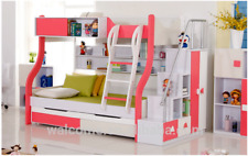 Double PINK BUNK BED + TRUNDLE +STAIRCASE +DRAWERS Childrens Bedroom Furniture