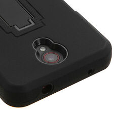 For ZTE Prestige N9132 - HARD&SOFT RUBBER HYBRID HEAVY DUTY CASE BLACK KICKSTAND