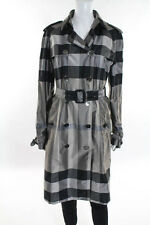 Burberry London Gray Black Silk Plaid Belted Double Breasted Trench Coat Size 10