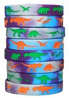 8 Dinosaur World Jurassic Style Silicone Wristbands, Dino Party Favors