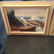2OLD Original OIL BOARD PAINTINGS~RARE ART&FRAME Signed Delores Ferrell Seascape