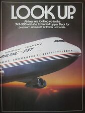 10/1982 PUB 3 PAGES BOEING 747-300 AIRLINER ECORCHE AIRLINES DECK ORIGINAL AD