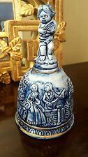 Majolica Blue Bell Glaze Faience Ceramic Blue Cherub Cupid Lovers Italian Gold