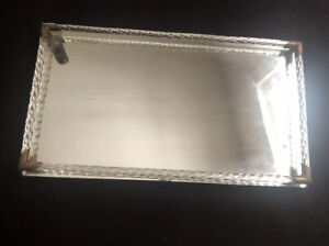 Vintage Rectangle Vanity Dresser Glass & Mirror Tray, Footed Art Deco Modern