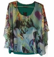 Liz Jordan Designer Collection Multicolour Top Size L Camisole Top Sheer Overlay