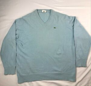 VTG LACOSTE wool / angora blend v-neck light baby blue sweater SIZE 5 (L) jumper