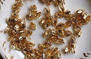 Vintage Bead Caps,4mm Brass Bead Caps, Petal Bead Caps,Button Shanks,Loops #931A