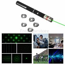 Portable 6 in 1 Caps Green Beam Laser Pointer Pen Light  5 Patterns NEW