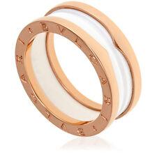 bvlgari bzero1 18k pink gold and white ceramic 2band ring size 85