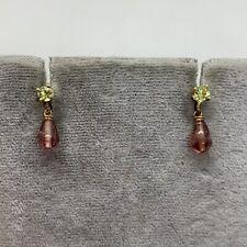 14k yellow gold peridot pink tourmaline briolette drop dangle earrings estate
