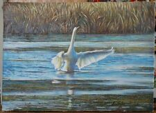 ORIGINAL OIL Painting Hand painted swan Landscape Artwork canvas wall ART decor