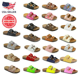 New Kids Toddler Summer Double Buckle Strap Footbed Cork Sandal Slide Flip Flops