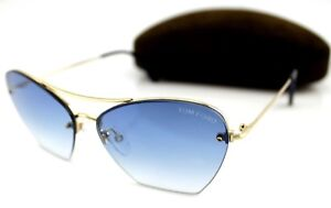 RARE Genuine TOM FORD ANNABEL Gold Blue Gradient Sunglasses TF 507 FT 0507 28W