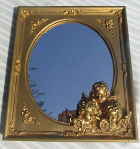 Gold Gilt Italian Regency Vanity Table Top Mirror with Three Cherubs Italy