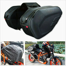 2 X Black Motorcycle Bike Pannier Bag 36-58L Luggage Saddle Bags With Rain Cover