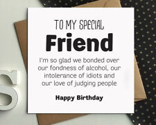 Funny Birthday card best friend gift idea wine gin rude comedy silly humour BX39