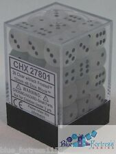 CHESSEX FROSTED 12mm SET OF 36 D6 CLEAR WITH BLACK DICE MTG POKEMON
