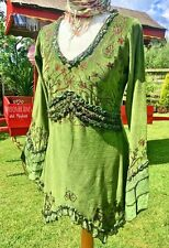 EXQUISITE NEW GREEN VELVET TOP SIZE 10 12 HIPPIE BOHEMIAN TOP TUNIC DRESS FAIRY