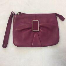 Audrey Brooke Leather Clutch Wristlet Wallet Bag Purple C1