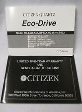 CITIZEN Eco-Drive EW8xxx EP4xxx Cal B023 Watch Instruction Manual 5Year Warranty