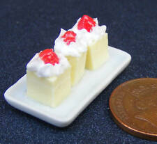 1:12 Scale 3 Strawberry & Lemon Square Cakes On A Ceramic Tray Dolls House PL38