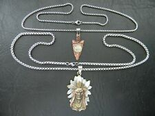 INDIAN CHIEF HEADRESS NECKLACE AND INDIAN ARROWHEAD NECKLACE SET IN DISPLAY BOX