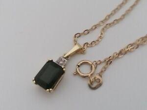 585 Gold Diamant Turmalin Kette 48cm + Anhänger