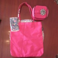 Lancome 3 Piece Tote Bag, Zippered Case & Makeup Case Pink Brand New