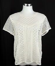 Abercrombie & Fitch Womens L Romantic Crochet Lace Top Ivory See Through
