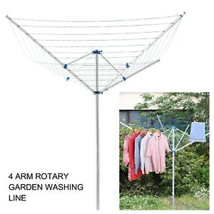 50M Rotary Airer 4 Arm Clothes Garden Washing Line Outdoor Drying Dryer Folding