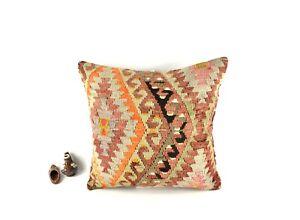 Oushak Kilim Pillow Cover 20x20 Handknotten Vintage Sofa Cushion Cover A2791