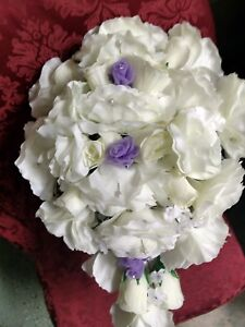 LARGE WEDDING BOUQUET IVORY & Lavender WITH BOUT OR ANY COLOR RUSH ORDER AVAIL