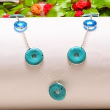 """Style Jewelry Necklace 18"""" N-594 Turquoise Rings, Blue Topaz Handmade Ethnic"""